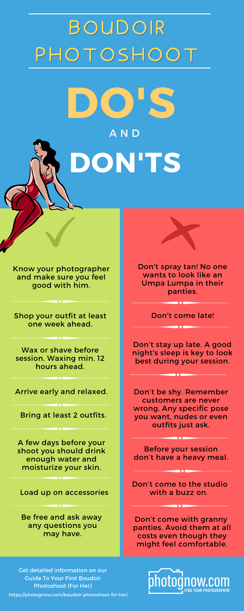 Infographic Do's and Don'ts Boudoir Photoshoot