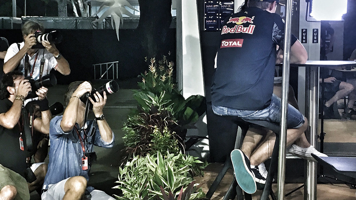 Sports photographers take pictures of Max Verstappen