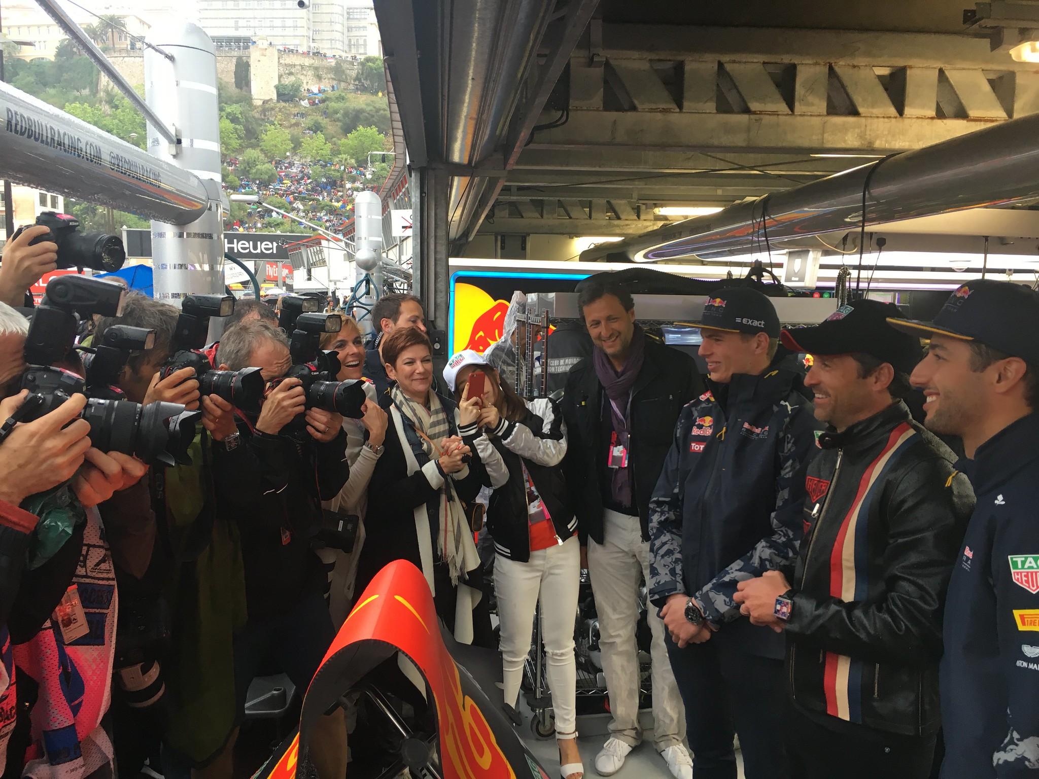 Max Verstappen, Daniel Ricciardo and Patrick Dempsey before the race in Monaco