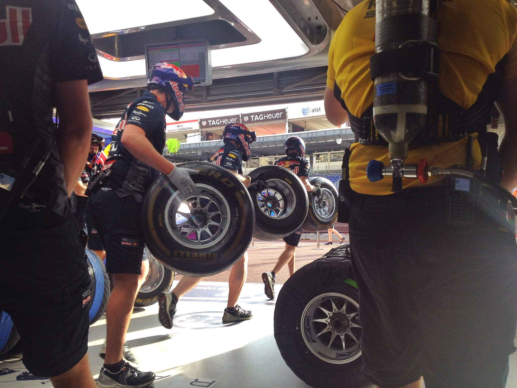 In the garage during an F1 pitstop