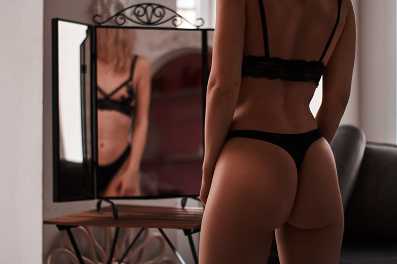 Bra and Undies in front of mirror